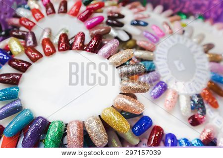 Nail Polish In Different Fashion Color Wheel. Colorful Nail Lacquer Mock-up Example In Tray
