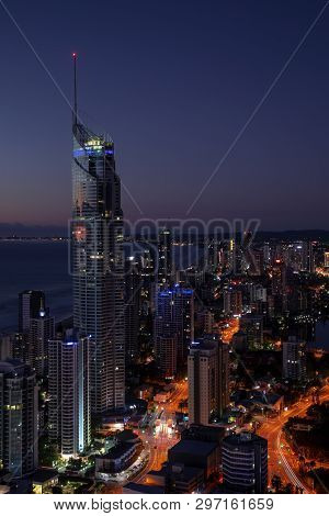 Gold Coast, Australia - April 7 2019: Surfers Paradise Aerial Nightscape With The Q1 Building