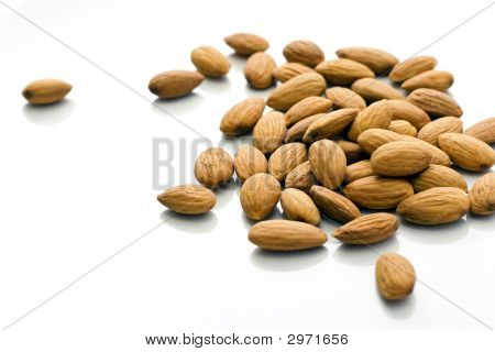 Shelled Almonds On White Table