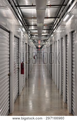Row Of Storage Units Viewed From Down The Hall