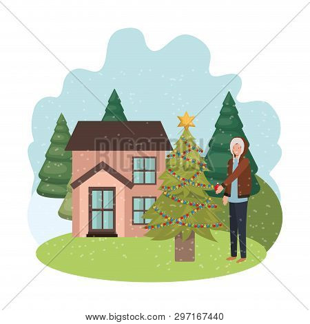 Man With Christmas Tree Outside Of The House Vector Illustration Desing