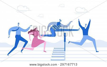 Running With Obstacles. Business Concept. Young People Run To The Distillation, Jump Over Hurdles. F