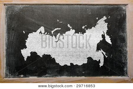 Outline Map Of Russia On Blackboard