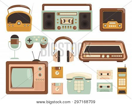 Retro Gadgets. 80s Electronic Cassette Recorder Tape Audio Music Player Radio Cell Phone Vector Pict