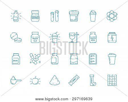 Fitness Nutrition. Supplement Sport Food Vitamins Whey Protein Vector Health Vector Symbols. Illustr
