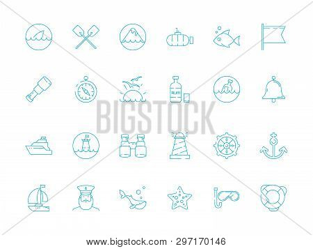 Marine Icon. Nautical Symbols Sailing Knot Rope Sea Fish Sailing Boat Ship Vector Thin Pictures. Mar
