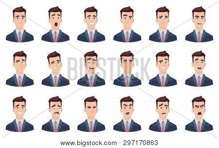 Man Emotions. Facial Characters Different Faces Sadness Hate Smile Head Portrait Vector Characters.