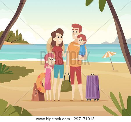 Family Summer Travellers. Kids With Parents Going To Summer Vacation Big Adventure On Sea Vector Car