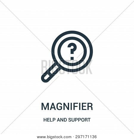 Magnifier Icon Isolated On White Background From Help And Support Collection. Magnifier Icon Trendy