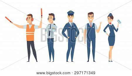 Pilots. Avia Company Persons Crew Pilots Stewardess Airplane Command Civil Aviation Vector Character
