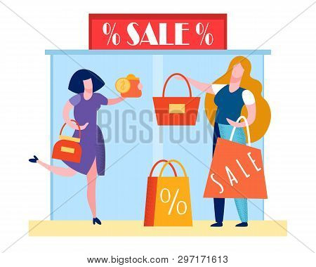 Mall Black Friday Event Flat Vector Illustration. Totes, Handbags Sale, Special Offer. Happy Shopaho