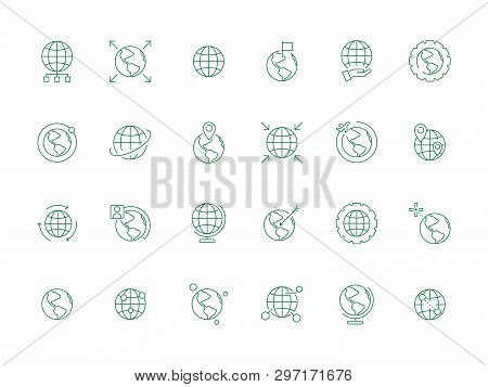 World Globe Icon. Earth Map Ways Direction Navigations Markers And Flags International Vector Symbol
