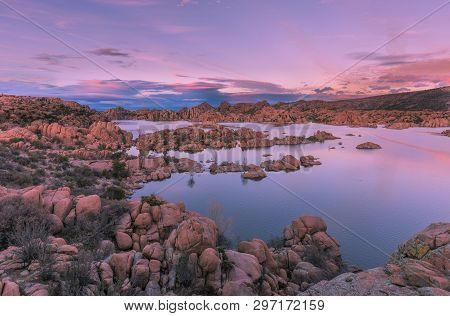 The Scenic Landscape Of Watson Lake Prescott Arizona At Sunset