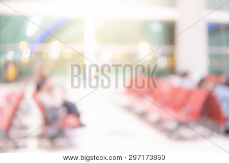 Abstract Blur Wating Area In Airport Terminal. Blurred Hall Interior In Transportation Building. Def