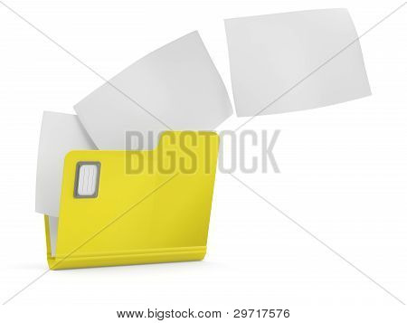 Manila Folder With Some Document. 3D Model