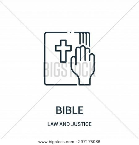 Bible Icon Isolated On White Background From Law And Justice Collection. Bible Icon Trendy And Moder