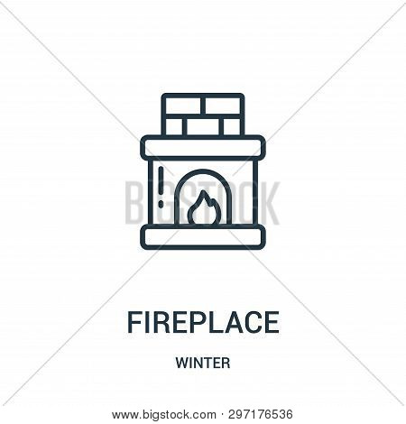 Fireplace Icon Isolated On White Background From Winter Collection. Fireplace Icon Trendy And Modern
