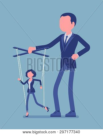 Marionette Businesswoman Manipulated And Controlled By Male Puppeteer. Female Manager Under Boss Inf
