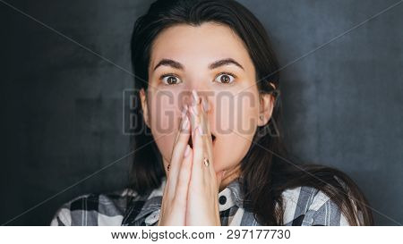 Shock Panic Fright. Scared Young Woman. Eyes Bulging With Fear Mouth Open. Negative Emotion Facial E
