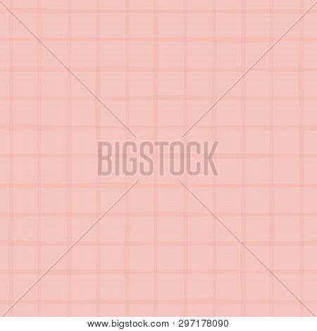 Subtle Pink Duotone Grid Made With Hand Drawn Watercolor Stripes. Seamless Vector Pattern On Pink Ba
