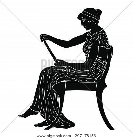 An Ancient Greek Woman Sits On A Chair And Holds A Papyrus In Her Hands With The Text And Reads. Vec