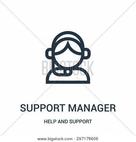 Support Manager Icon Isolated On White Background From Help And Support Collection. Support Manager