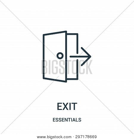 Exit Icon Isolated On White Background From Essentials Collection. Exit Icon Trendy And Modern Exit