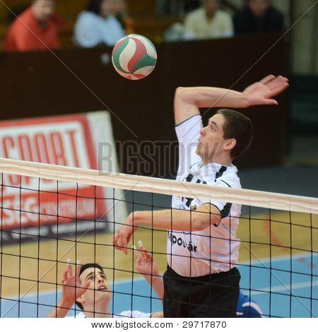 KAPOSVAR, Hongrie - 28 janvier : Roland Vajda (R) en action à un volley-ball hongrois National Champi