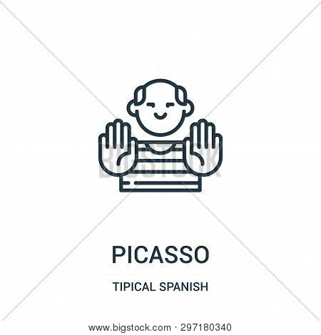Picasso Icon Isolated On White Background From Tipical Spanish Collection. Picasso Icon Trendy And M