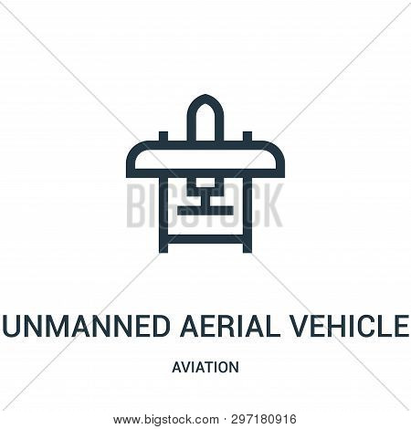 Unmanned Aerial Vehicle Icon Isolated On White Background From Aviation Collection. Unmanned Aerial