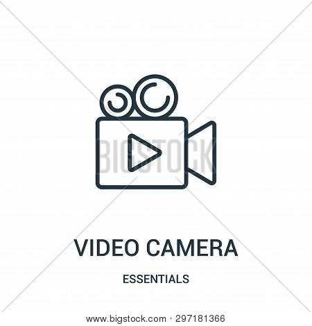 Video Camera Icon Isolated On White Background From Essentials Collection. Video Camera Icon Trendy