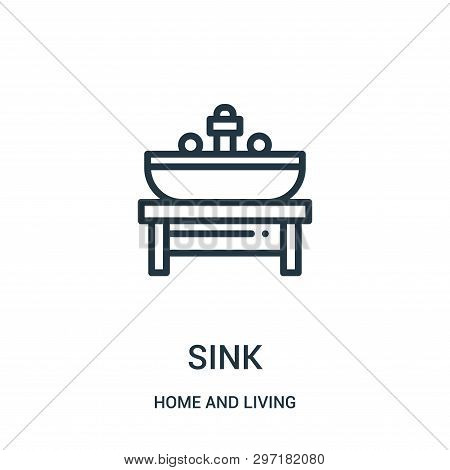 Sink Icon Isolated On White Background From Home And Living Collection. Sink Icon Trendy And Modern