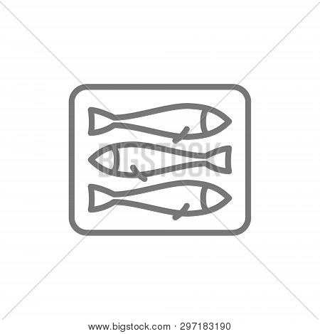 Sprats, Fish Line Icon. Isolated On White Background