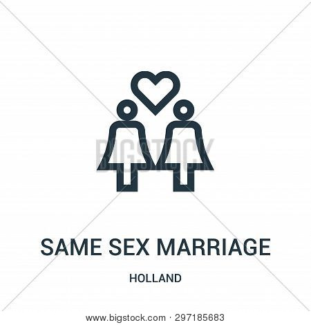 Same Sex Marriage Icon Isolated On White Background From Holland Collection. Same Sex Marriage Icon