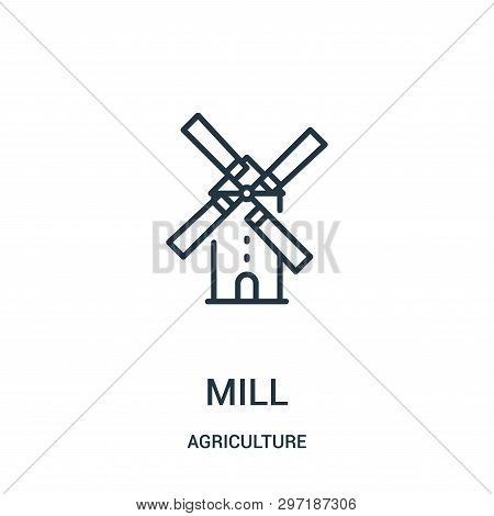 Mill Icon Isolated On White Background From Agriculture Collection. Mill Icon Trendy And Modern Mill