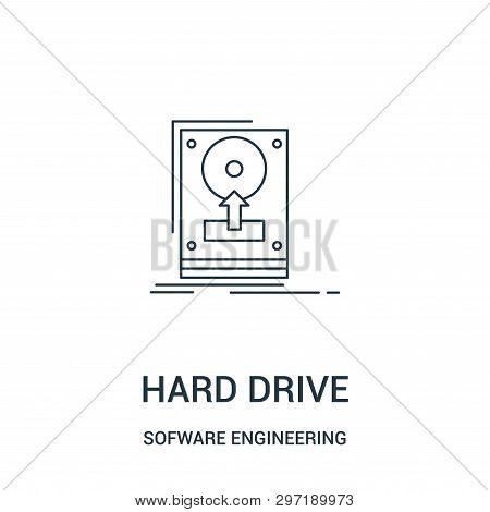 Hard Drive Icon Isolated On White Background From Sofware Engineering Video Gaming Collection. Hard