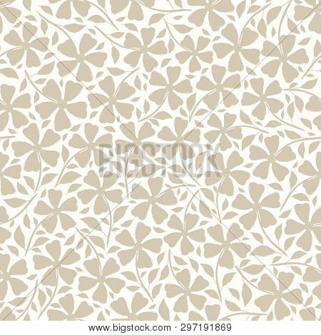 Hand Drawn Neutral Silhouette Flowers And Leaves Floral Design. Vector Seamless Pattern On White Bac