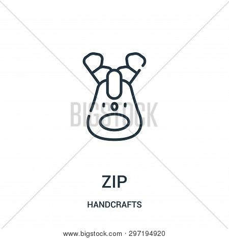 Zip Icon Isolated On White Background From Handcrafts Collection. Zip Icon Trendy And Modern Zip Sym