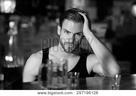 Dependence Or Addiction. Alcoholic Man Drinking At Bar Counter. Drinking Alcohol. Man Drink Strong A