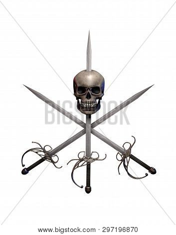 Pirate Swept Hilt Swords Cross With A Human Skull Isolated On White, Adventure And Danger On The Hig