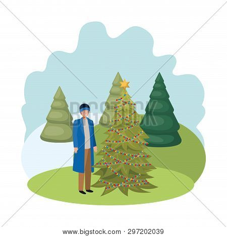 Man With Christmas Tree In Landscape Vector Illustration Desing