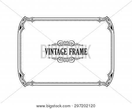 Vintage Calligraphic Frame. Black And White Vector Border Of The Invitation, Diploma, Certificate, P