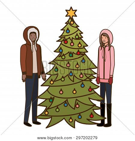 Couple With Christmas Tree Avatar Character Vector Illustration Desing