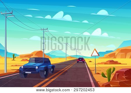 Desert Landscape With Long Highway And Cars Ride Along Asphalt Road With Sign And Wires. Roadway Wit