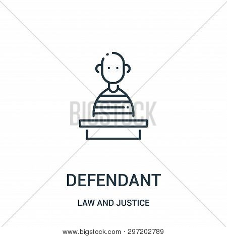 Defendant Icon Isolated On White Background From Law And Justice Collection. Defendant Icon Trendy A