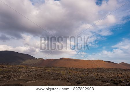 Timanfaya Volcanic National Park In Lanzarote, Canary Islands, Spain.