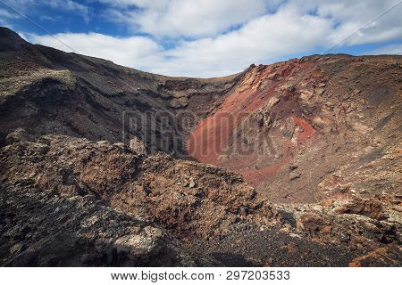 Amazing Volcanic Landscape. Volcanic Crater In Timanfaya National Park, Lanzarote, Canary Islands, S
