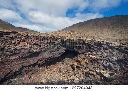 Amazing Volcanic Landscape. Geological Lava Detail In Timanfaya National Park, Lanzarote, Canary Isl