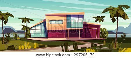 Luxury Villa On Tropical Beach Cartoon Illustration. High-class House Exterior With Glass Facade, Ga