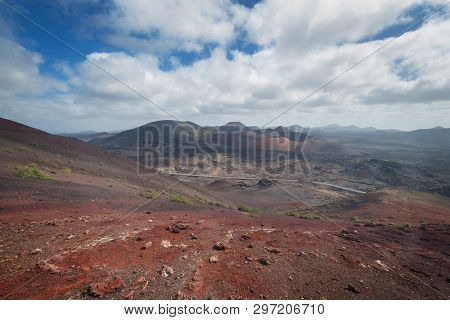 Amazing Volcanic Landscape And Lava Desert In Timanfaya National Park, Lanzarote, Canary Islands, Sp